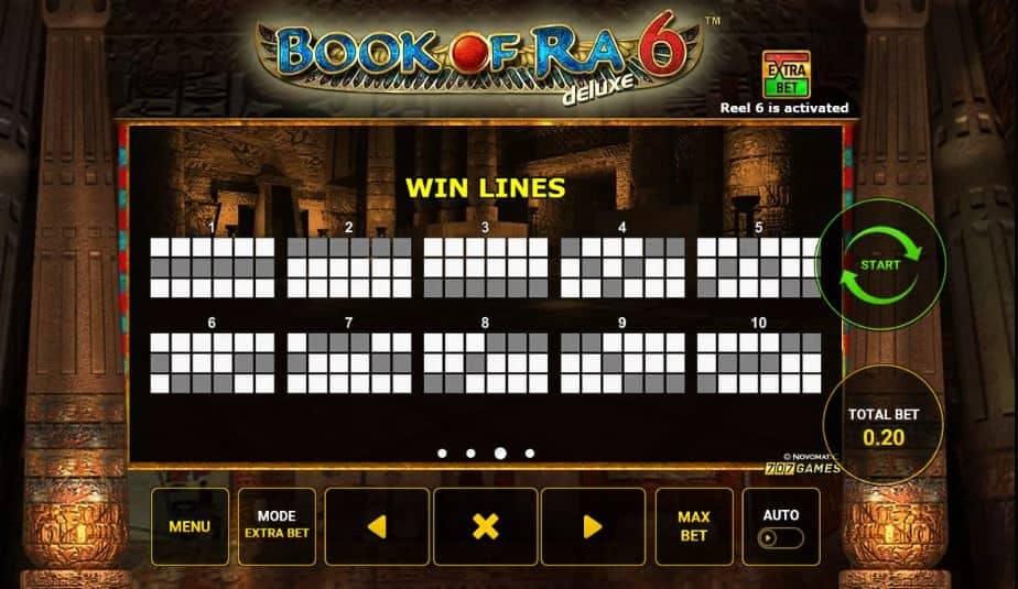 Per vincere a Book of Ra 6 Deluxe i simboli sulle linee vincenti devono comparire nella giusta combinazione