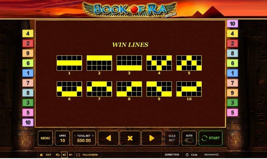 Per vincere a Book of Ra Deluxe i simboli sulle linee vincenti devono comparire nella giusta combinazione