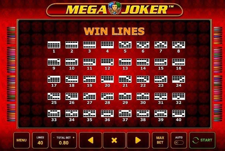 Per vincere a Mega Joker i simboli sulle linee vincenti devono comparire nella giusta combinazione