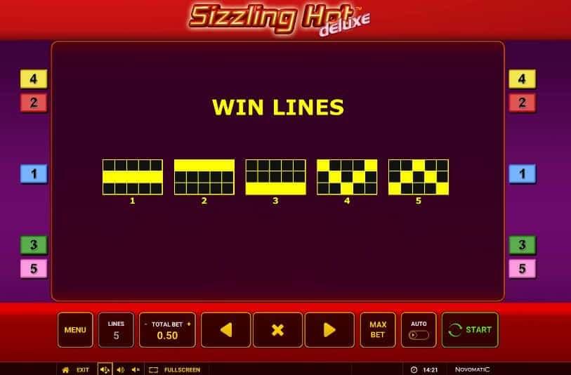 Per vincere a Sizzling Hot Deluxe i simboli sulle linee vincenti devono comparire nella giusta combinazione