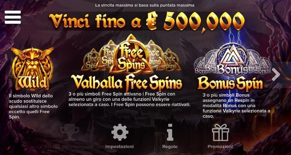Tabella dei pagamenti della slot Valkyrie