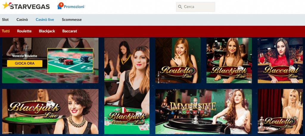 Giochi da Casino Live con croupier dal vivo su Starvegas casinò