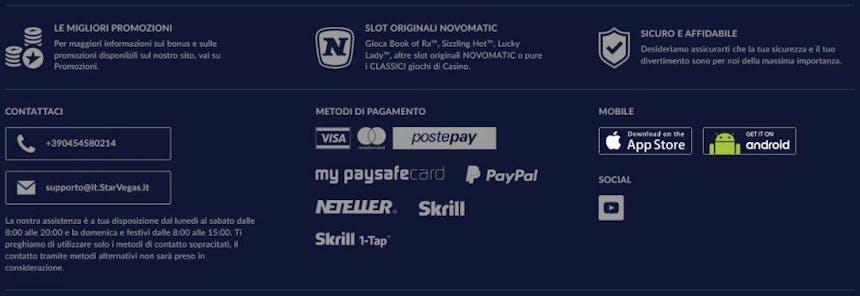 Opzioni di pagamento di Starvegas