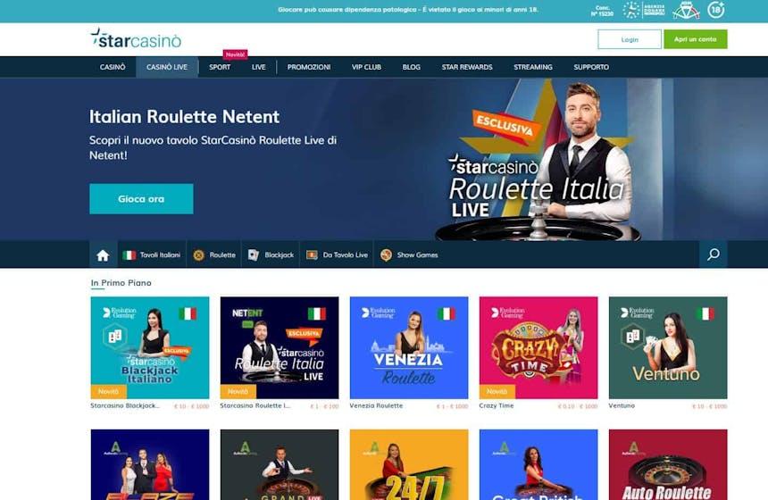 Il casino dal vivo di Starcasino presenta diversi tavoli virtuali