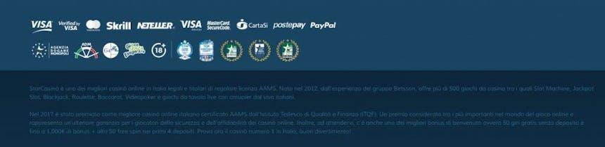 Opzioni de pagamento di Starcasino