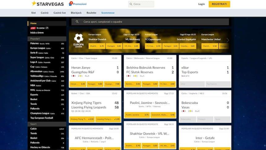 Prova le scommesse sportive online di Starvegas