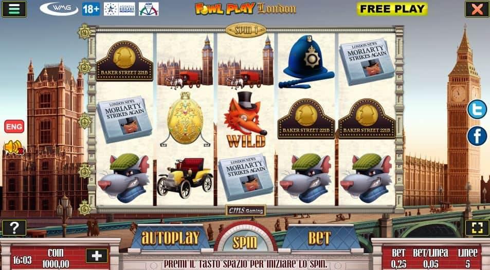 I simboli della slot online Fowl Play London