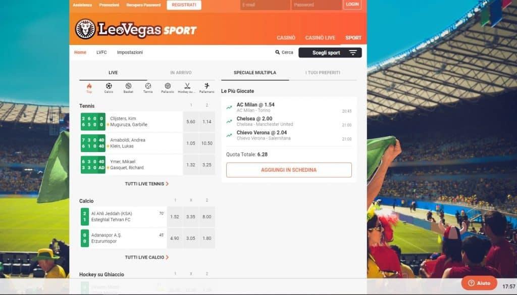 Prova le scommesse sportive online di Leovegas