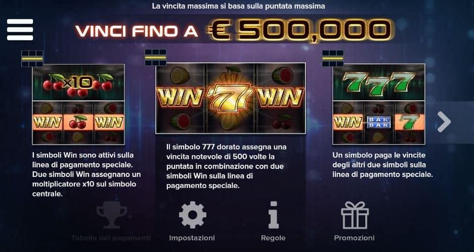 Tabella dei pagamenti della slot Win Win