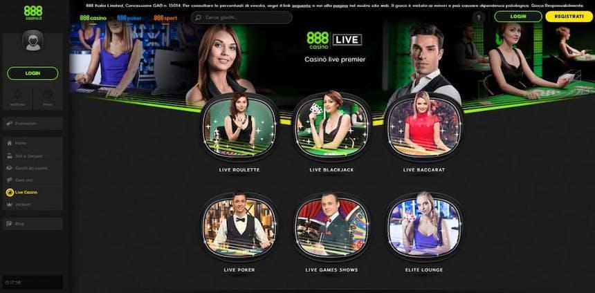 Il casino dal vivo di 888 Casino presenta diversi tavoli virtuali