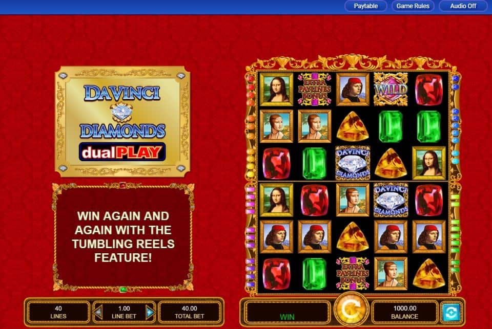 I simboli della slot online Da Vinci Diamonds Dual Play