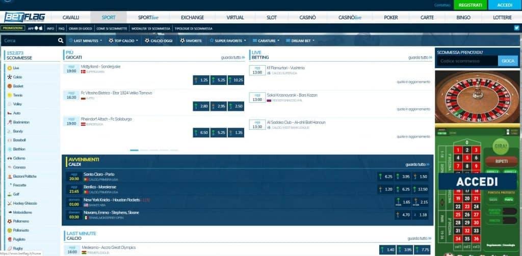 Prova le scommesse sportive online di Betflag