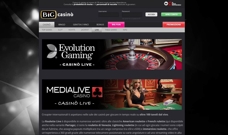 Il casino dal vivo di Big Casino presenta diversi tavoli virtuali