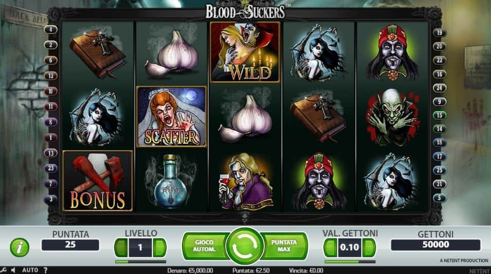 I simboli della slot online Blood Suckers