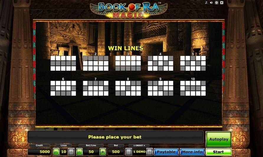 Per vincere a Book of Ra Magic i simboli sulle linee vincenti devono comparire nella giusta combinazione