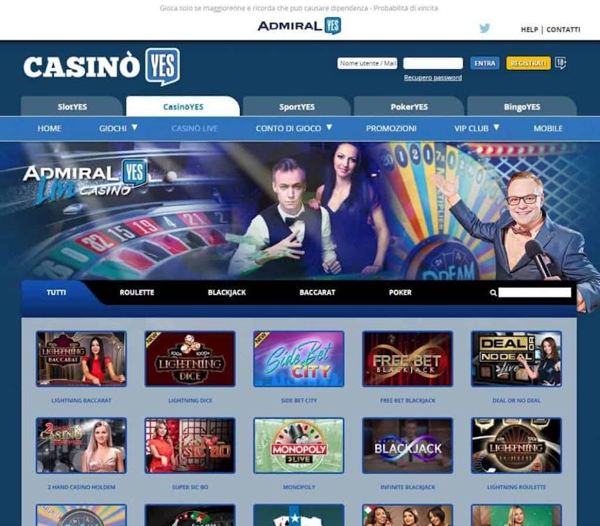 Il casino dal vivo di CasinoYES presenta diversi tavoli virtuali