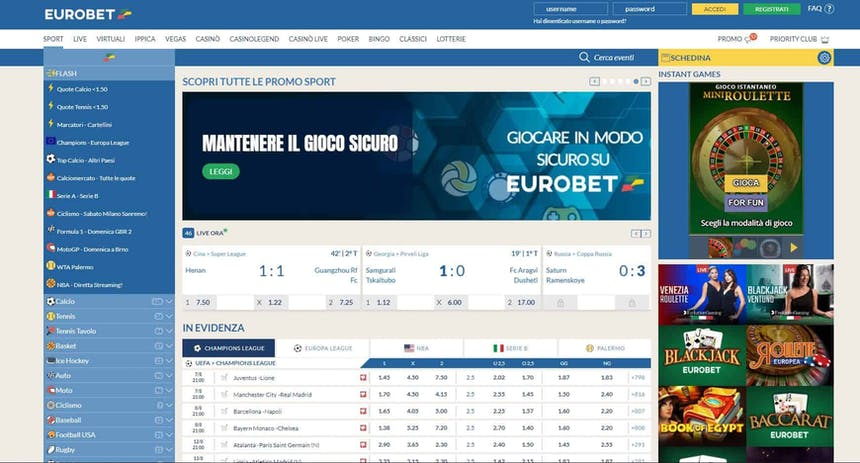 Prova le scommesse sportive online di Eurobet