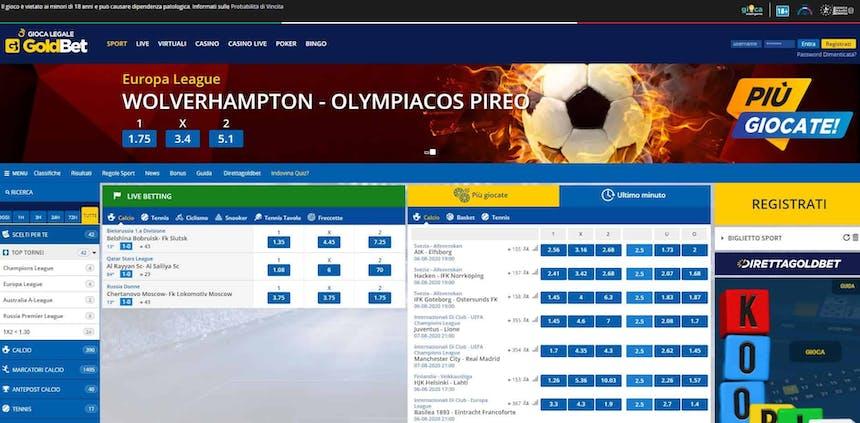 Prova le scommesse sportive online di Goldbet