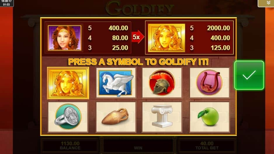 Tabella dei pagamenti della slot Goldify