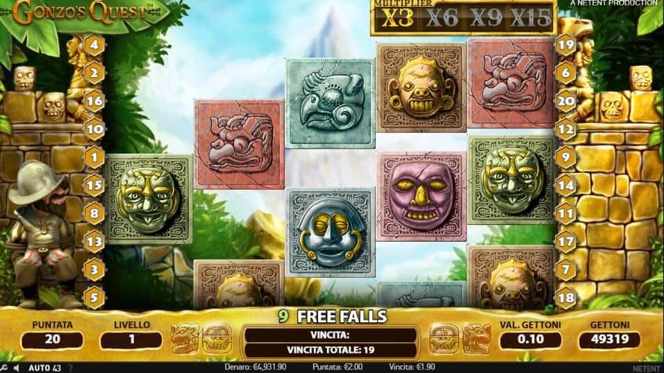 Oltre al gioco normale, a Gonzo's Quest hai la possibilità di vincere delle partite bonus