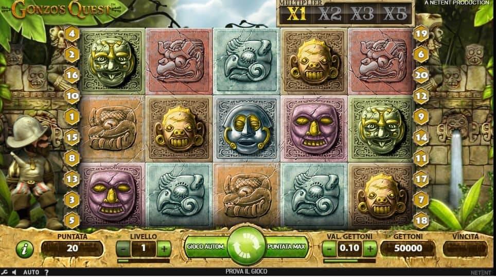 I simboli della slot online Gonzo's Quest