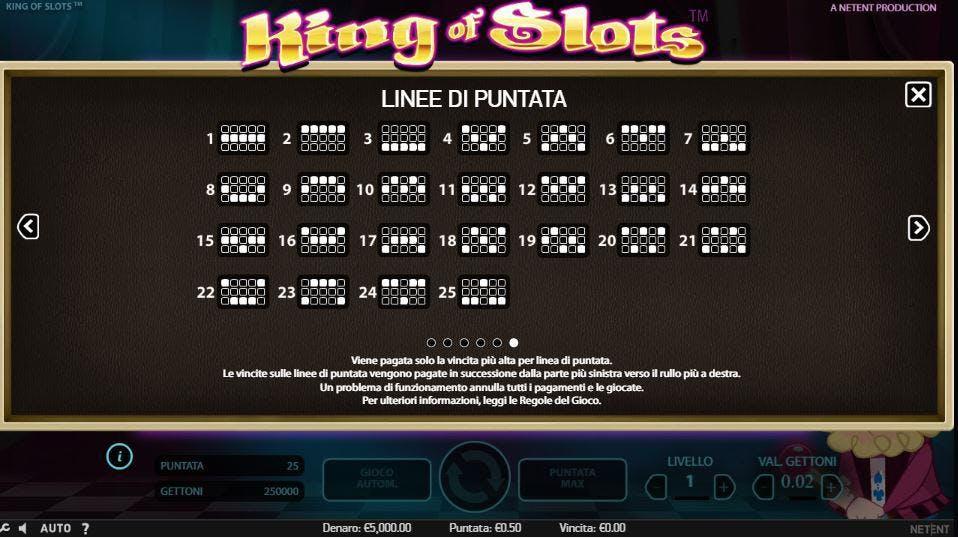 Per vincere a King of Slots i simboli sulle linee vincenti devono comparire nella giusta combinazione