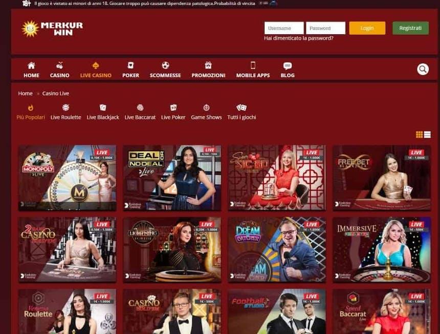 Il casino dal vivo di Merkur Win presenta diversi tavoli virtuali