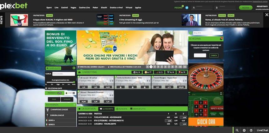 Prova le scommesse sportive online di Plexbet