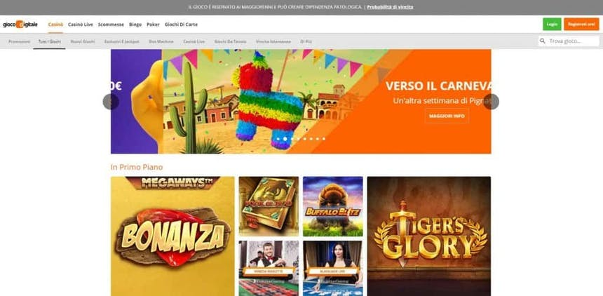 Slot machines su Gioco Digitale