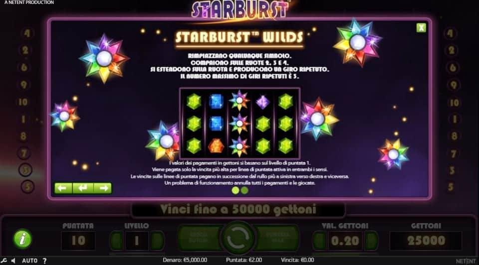 Tabella dei pagamenti della slot Starburst