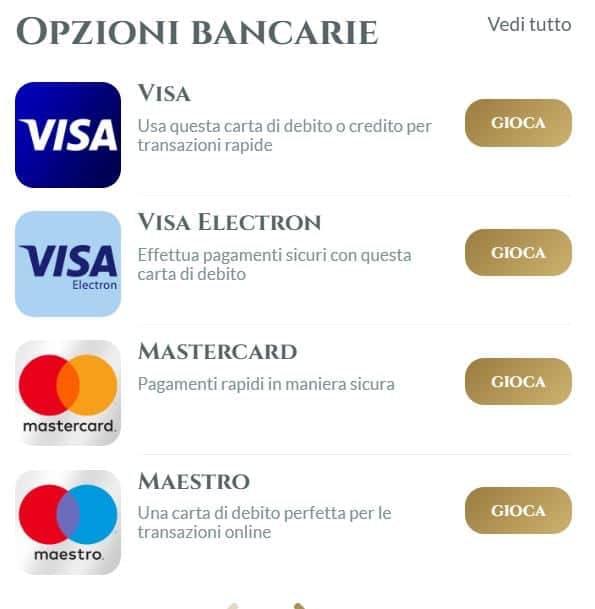 Opzioni de pagamento di Voglia di vincere