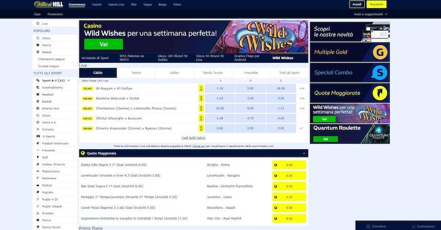 Prova le scommesse sportive online di William Hill