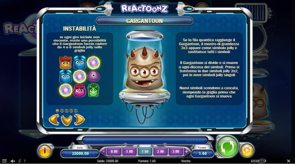 Tabella dei pagamenti della slot Reactoonz