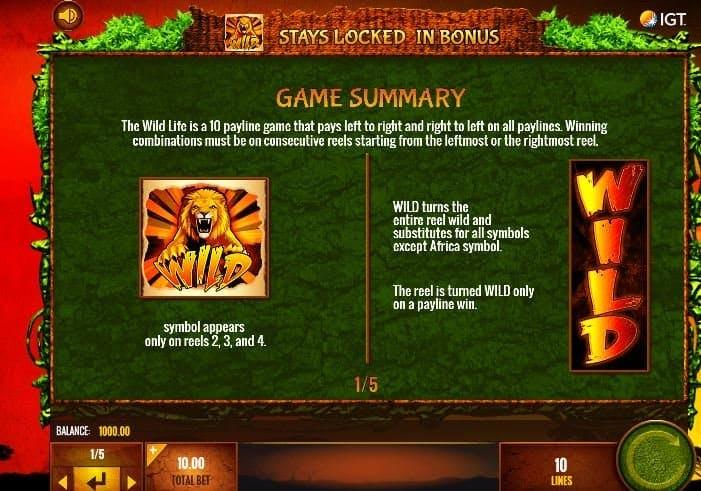 Tabella dei pagamenti della slot The Wild Life