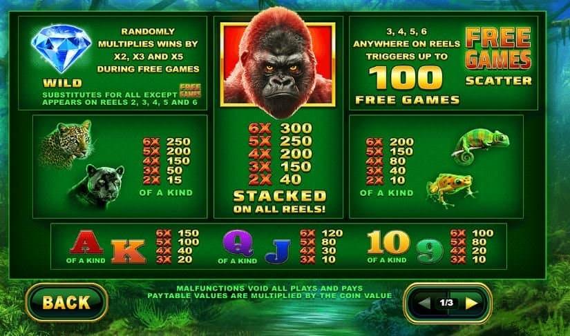 Tabella dei pagamenti della slot Epic Ape