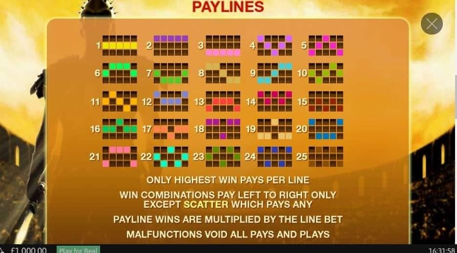 Per vincere a Gladiator i simboli sulle linee vincenti devono comparire nella giusta combinazione