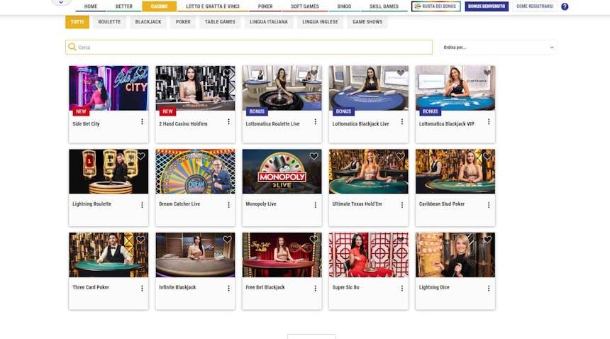 Il casino dal vivo di Lottomatica presenta diversi tavoli virtuali