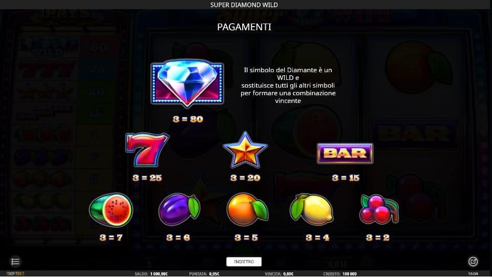 Tabella dei pagamenti della slot Super Diamond Wild