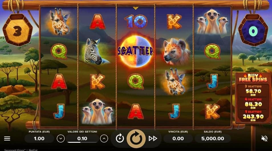 I simboli della slot online Serengeti Kings