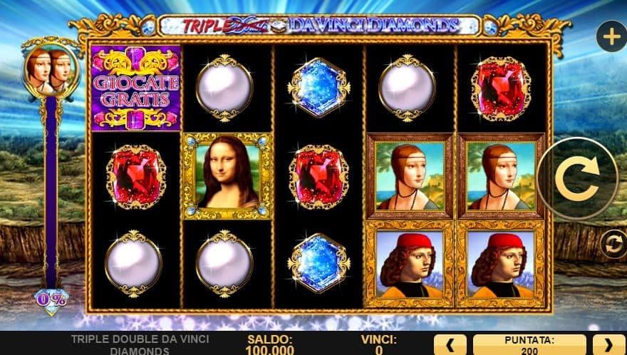 I simboli della slot online Triple Double Da Vinci Diamonds