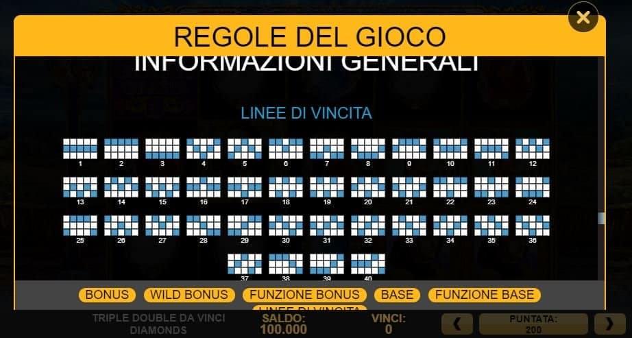 Per vincere a Triple Double Da Vinci Diamonds i simboli sulle linee vincenti devono comparire nella giusta combinazione