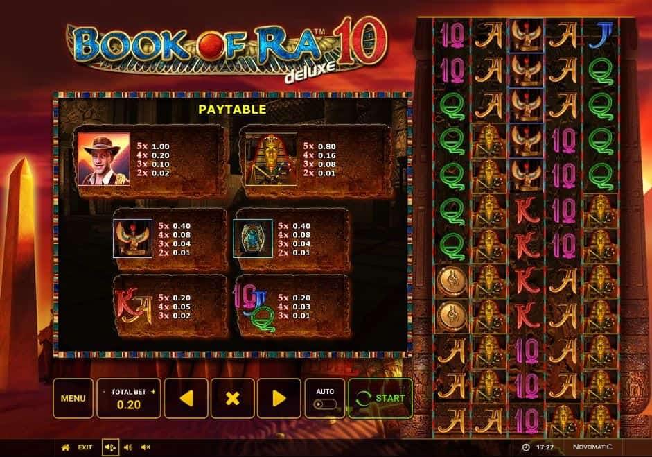 Tabella dei pagamenti della slot Book of Ra 10 Deluxe