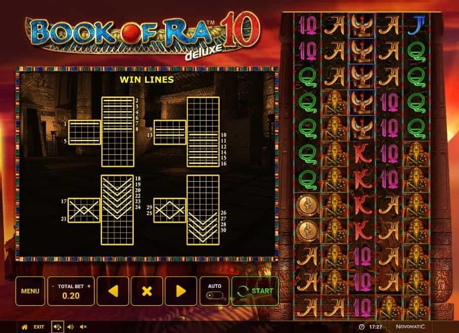 Per vincere a Book of Ra 10 Deluxe i simboli sulle linee vincenti devono comparire nella giusta combinazione