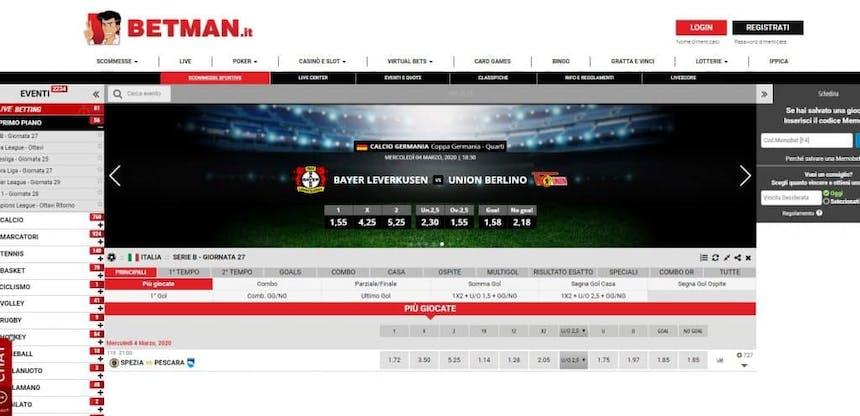 Prova le scommesse sportive online di Betman