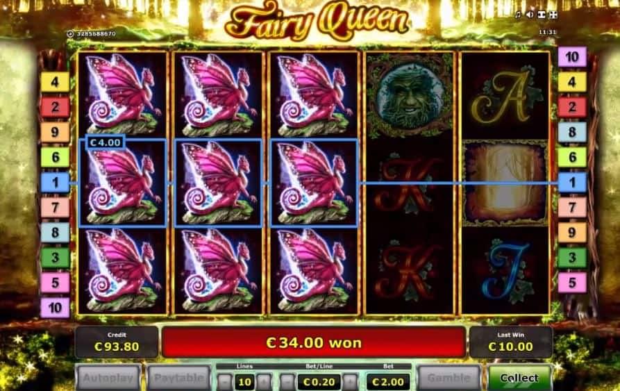 Oltre al gioco normale, a Fairy Queen hai la possibilità di vincere delle partite bonus
