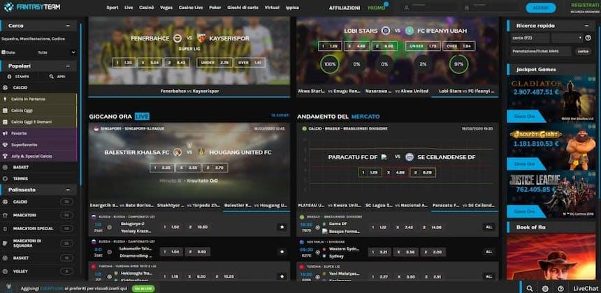 Prova le scommesse sportive online di Fantasyteam