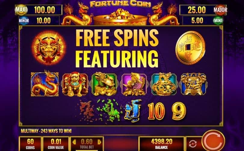 Oltre al gioco normale, a Fortune Coin hai la possibilità di vincere delle partite bonus