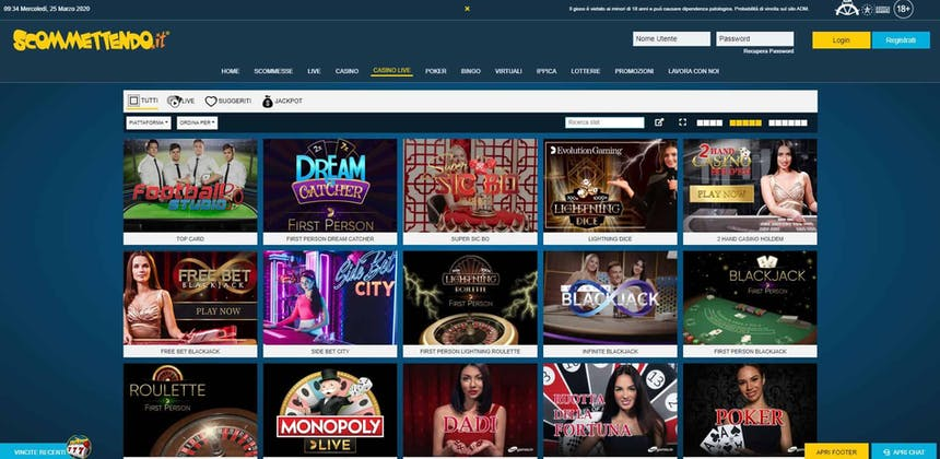 Il casino dal vivo di Scommettendo presenta diversi tavoli virtuali