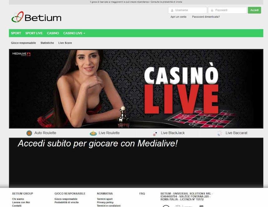 Il casino dal vivo di Betium presenta diversi tavoli virtuali