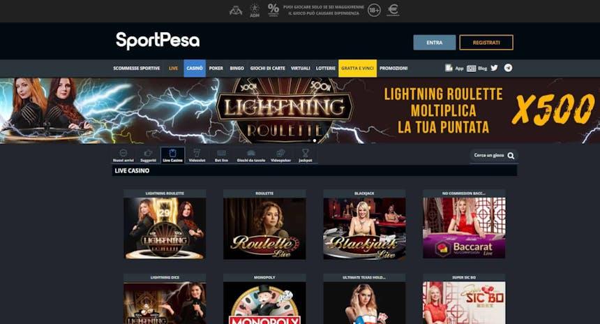 Il casino dal vivo di Sportpesa presenta diversi tavoli virtuali